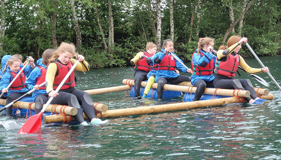 School group enjoying fun water based activities in Hertfordshire.